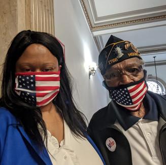 Lauren with Marine Veteran, Pastor Albert Gordon at the Veterans' Day Ceremony.