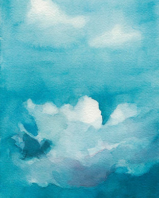 blue-sky-white-clouds-watercolor-paintin
