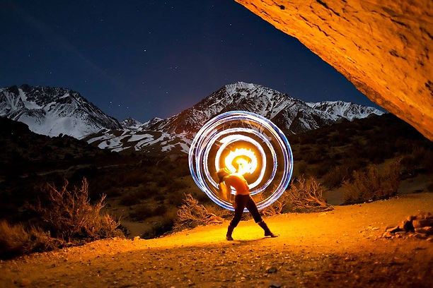 abbie jean ciullo buttermilks eastern sierra fire spinning