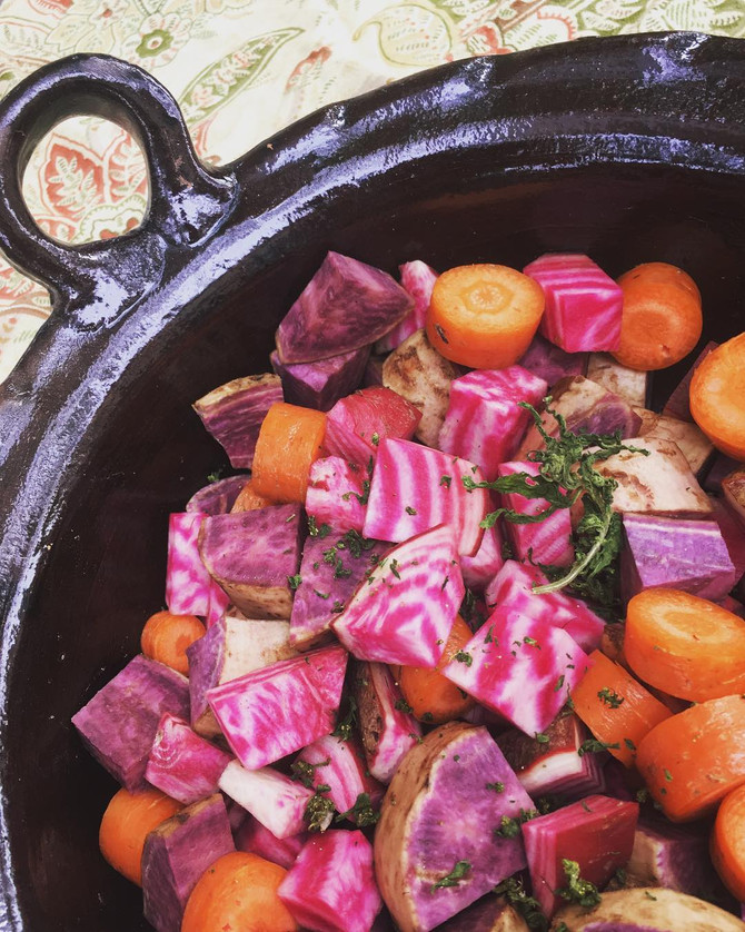 Fire roasted root veggies