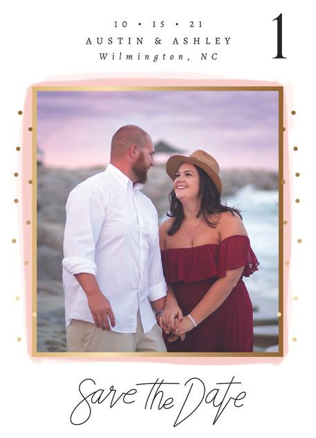 Save the Date with Pink and Confetti Inv