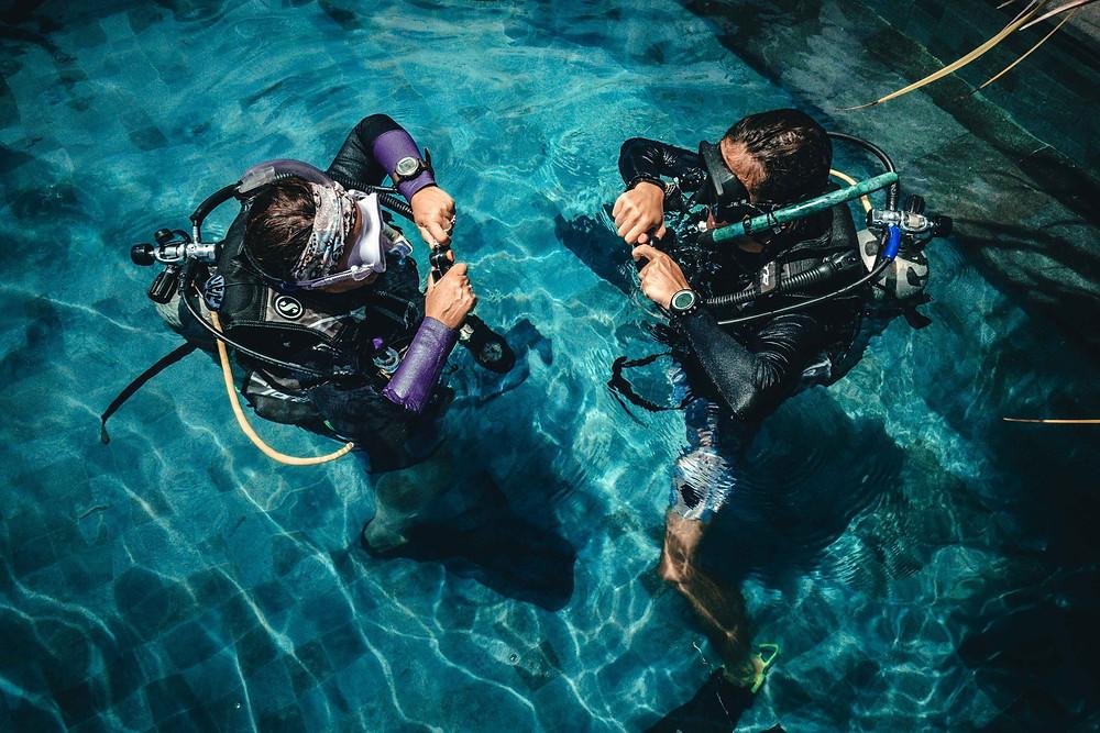 Open Water course skill practice Purple Dive Nusa Penida
