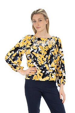 3/4 Sleeve Boat Neck Printed Knit Top