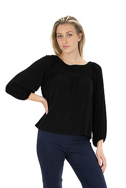 3/4 Sleeve Boat Neck Solid Knit Top