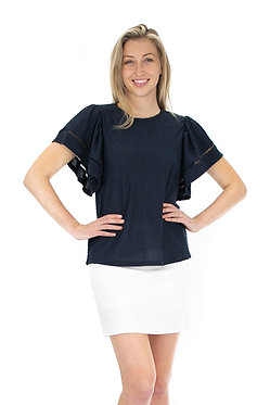Short Sleeve Clip Dot Knit Top With Novelty Trim On Sleeves