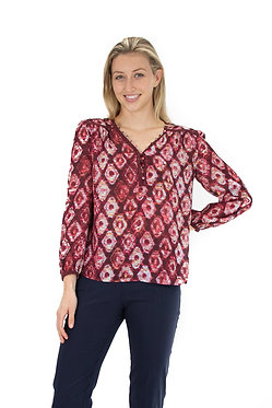 3/4 Sleeve V Neck Popover Blouse With Novelty Buttons