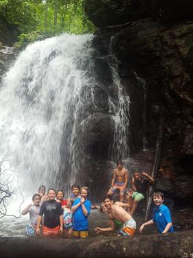 Hiking to a waterfall