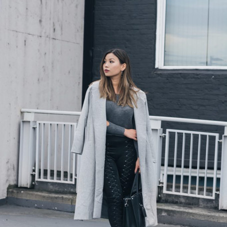 Gastown Rooftop: Lace Suede Pants & Grey Sweater