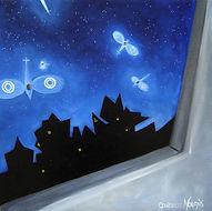 huile sur toile, peinture, Garance Monziès, rêve, fenêtre, avion, guerre, conquête, liberté, lumière, libélules