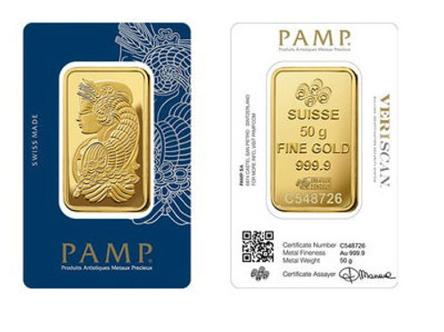 Suisse Pamp 24kt 50gm Gold Bar
