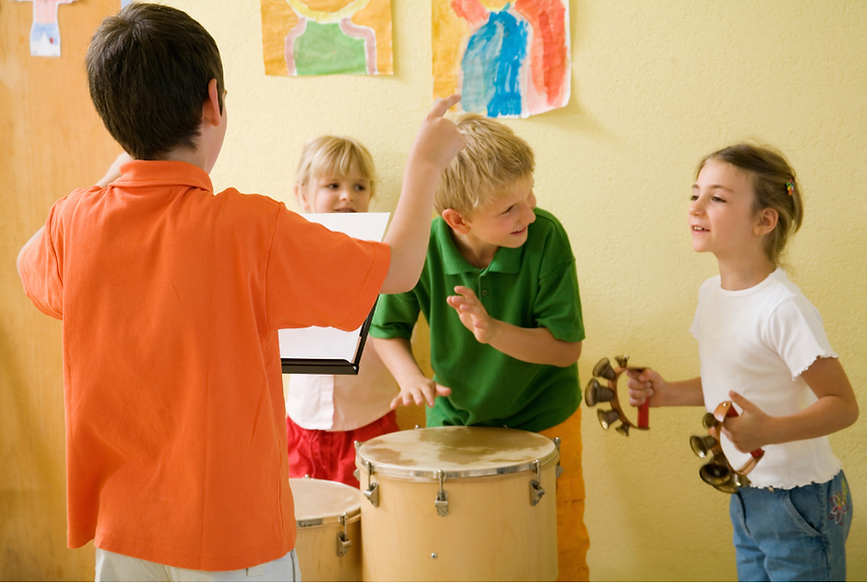 children playing with percussion instruments