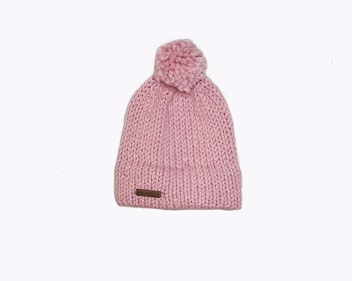 Avery Beanie- Pink with Yarn PomPom