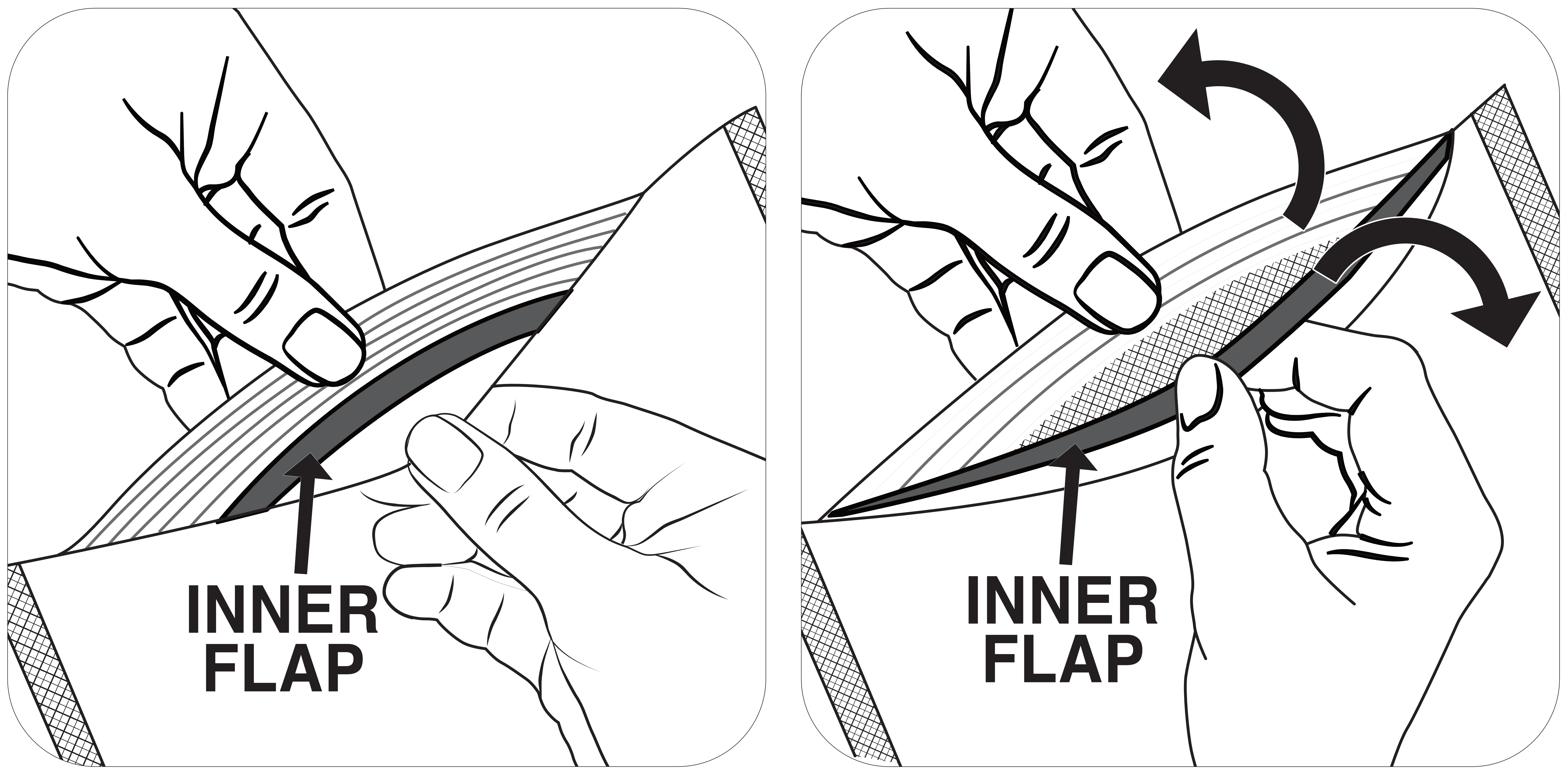 pinch inner flaps and pull apart