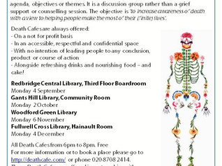 Gants Hill Library: Death Cafe 2 Oct 6pm.