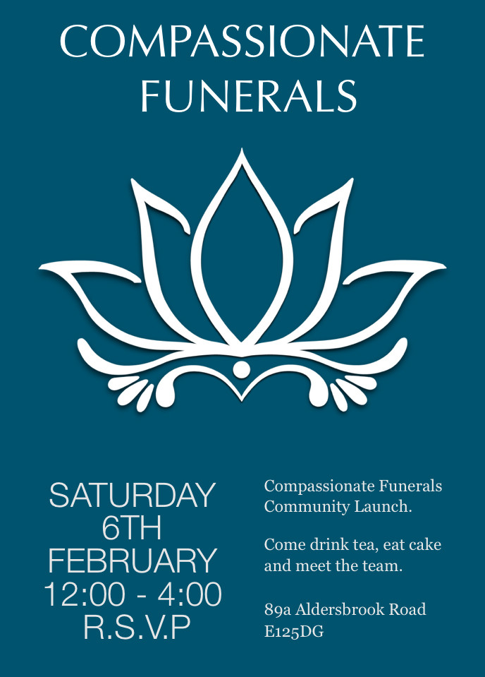 Compassionate Funerals flier for community launch on 6 February 2016