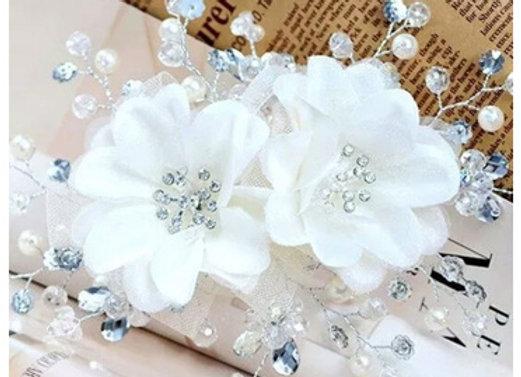 Pente de Cabelo Flor Branca