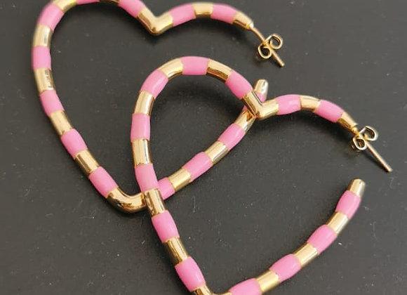 Argola Pink Heart