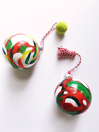 Hand Painted Ornaments: Crimson & Green