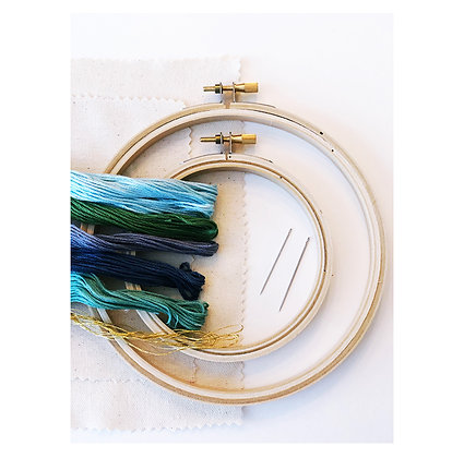 Abstract Embroidery Kit- cool hues