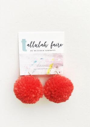 POM Earrings - Bright Red
