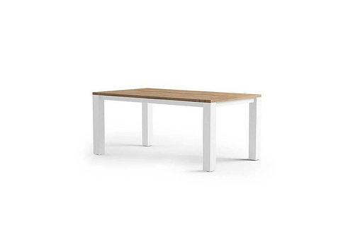 Záhradný hliníkový stôl/teak MADRID biely