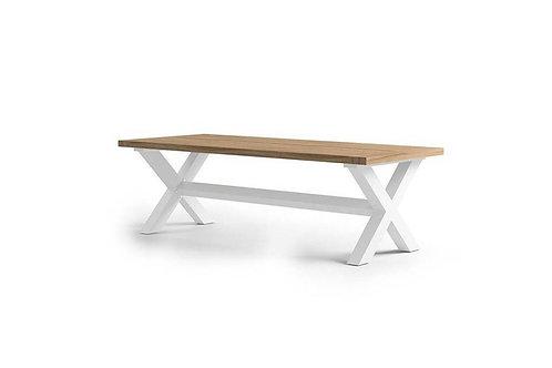 Záhradný hliníkový stôl/teak BILBAO biely
