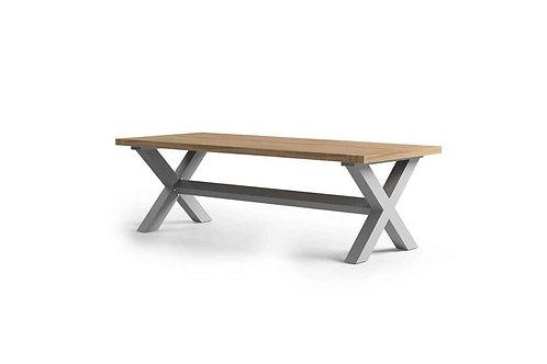 Záhradný hliníkový stôl/teak BILBAO sivý