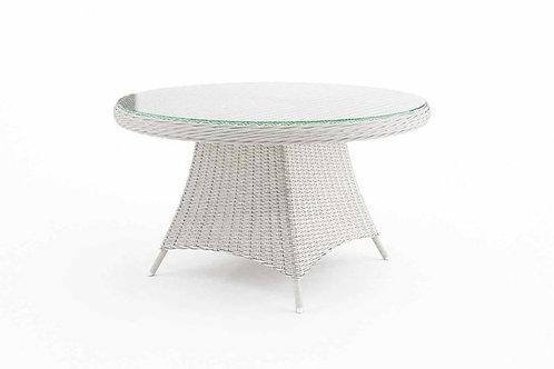 Záhradný ratanový stôl RONDO Ø 130 cm biely
