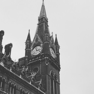 St Pancras Clock Tower in Black and White