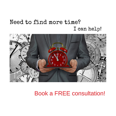 Need to find more time? Book a free consultation. Image of butler with clock.