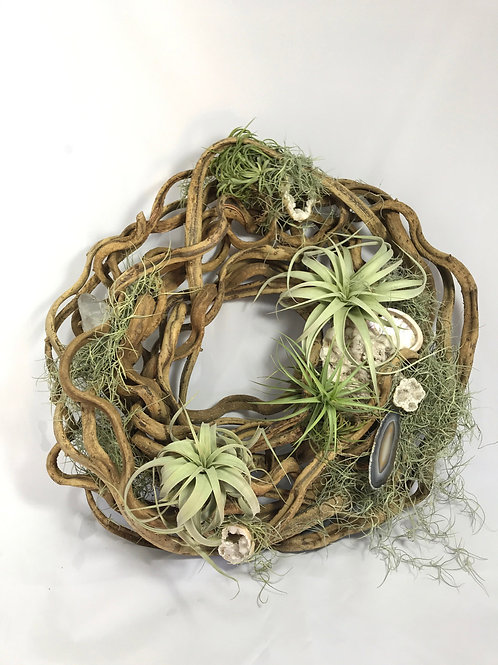 Natural wreath with Air Plants and Crystal