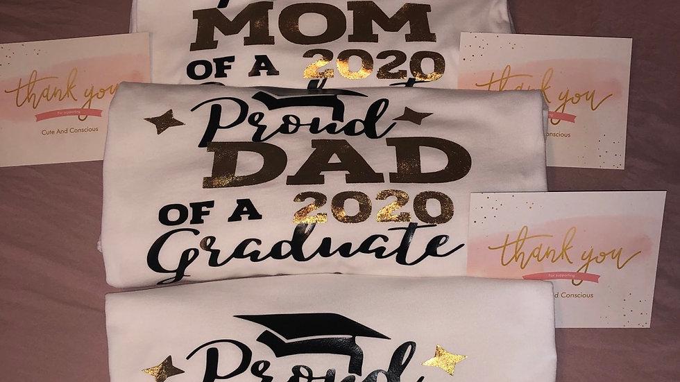 Graduation shirts each depending on size