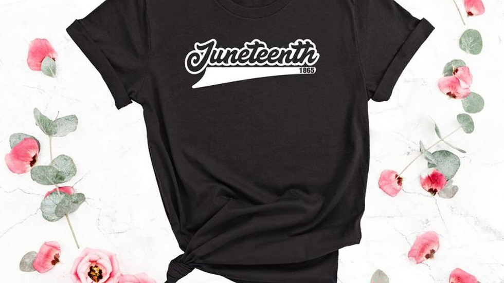 Black Juneteenth Tee (white letters$