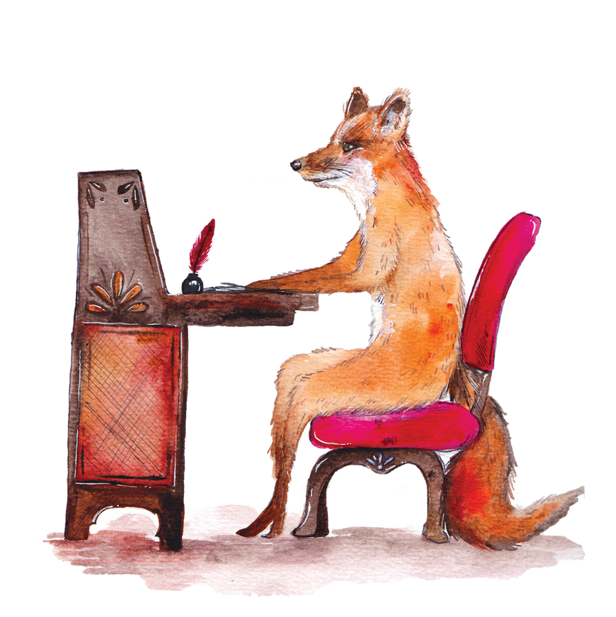 Fox at the writing desk