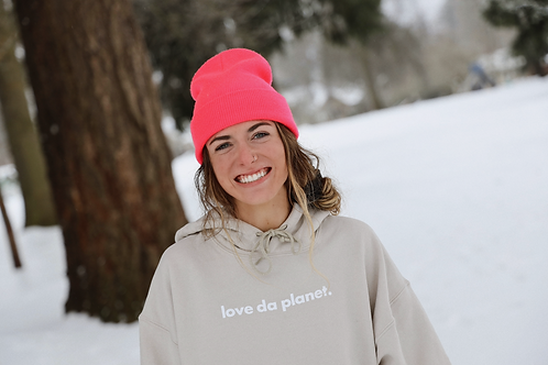 """Love Da Planet"" Cream Hoodie"