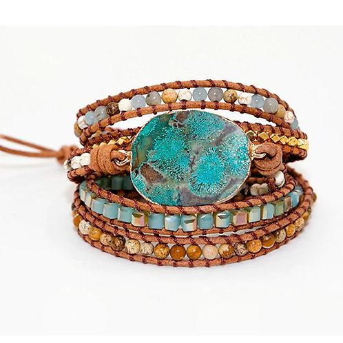 Bohemian armband Ocean Jaspis - goudkleur - 5 strengen