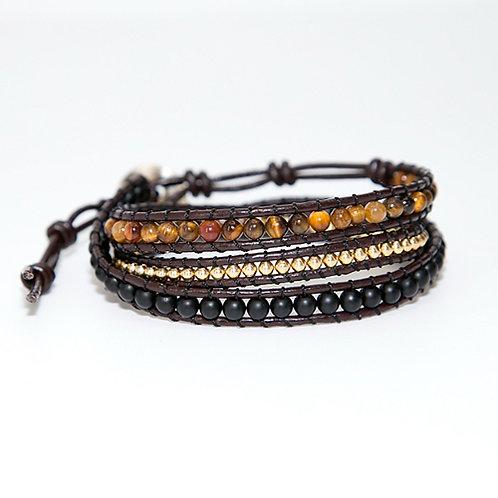 Bohemian armband Tijgeroog - 3 strengen