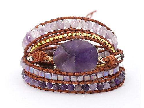 Boho amethist armband - goudkleur - 5 strengen