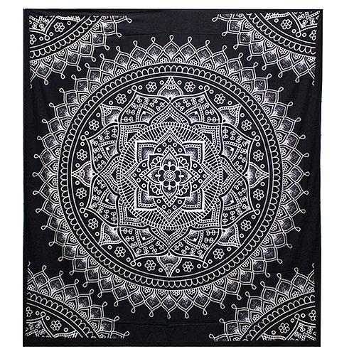 Lotusbloem wandkleed katoen - zwart/wit - 230 x 200 cm