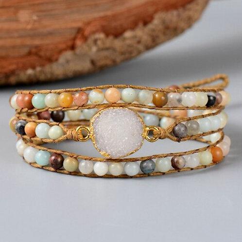 Bohemian armband Amazoniet - goudkleur - 3 strengen