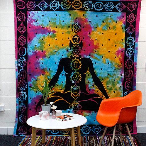 Chakra's Boeddha katoenen wandkleed - bedsprei - strandlaken - 230 x 200 cm