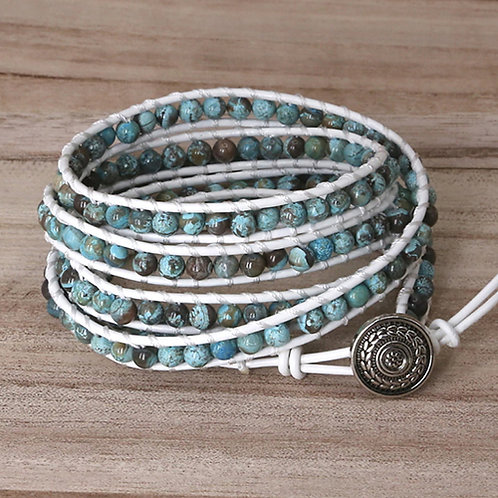 Bohemian armband Ocean Jaspis - wit - 5 strengen