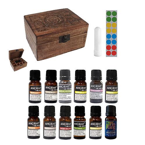 Balance 12 etherische oliën - opbergbox wood - neusinhaler - stickervel