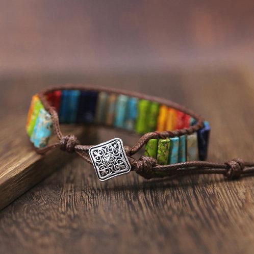 Bohemian Chakra armband -donkerbruin