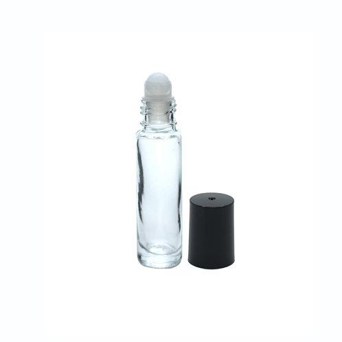 Roll on navulfles 10 ml - glazen bal - zwarte dop - dik glas