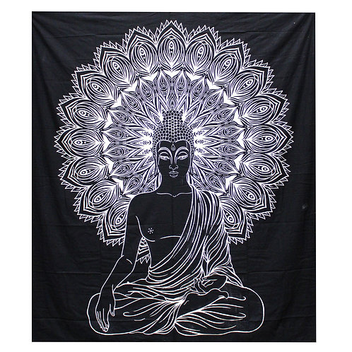 Chakra's Boeddha wandkleed katoen - zwart/wit - 230 x 200 cm