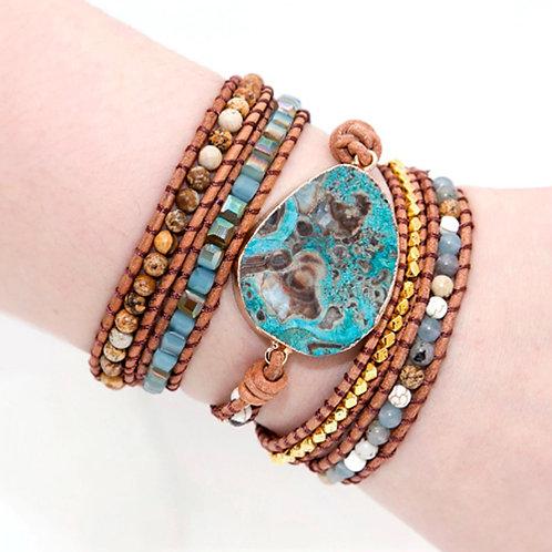 Bohemian armband Ocean Jaspis - zilverkleur - 5 strengen