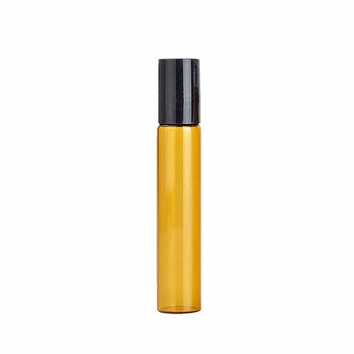 Roll on navulfles 10 ml Amber - glazen bal - zwarte dop