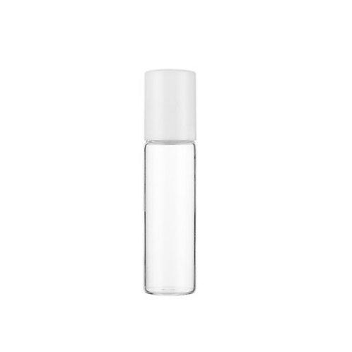 Roll on navulflesje 10 ml - glazen bal - witte dop
