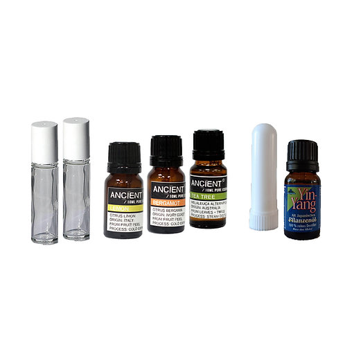 Desinfectie pakket - 4 essential oils - neusinhaler - roll-on navulfles